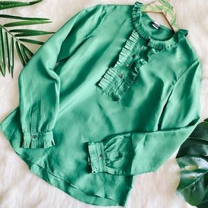 J. Crew Emerald silk blouse